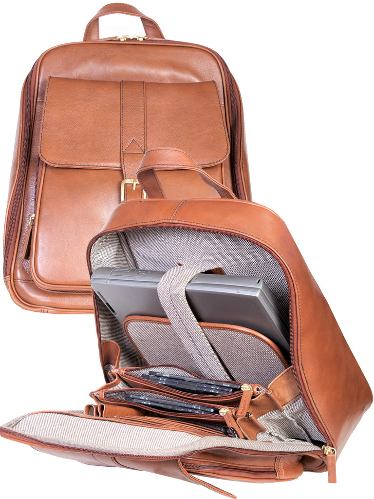 Scully Leather Laptop Business Backpack Cognac
