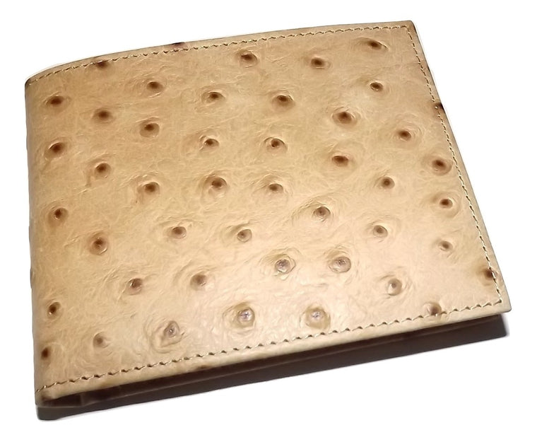 Scully Leather Ostrich Embossed Bifold 8 Pocket Wallet Tan