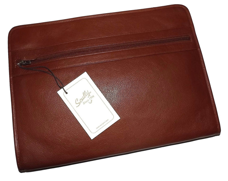 Scully Leather Zippered Business Portfolio with Tablet Pocket Brown