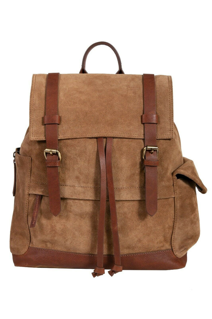 Scully Retro Nubuck Leather Cargo Drawstring Backpack