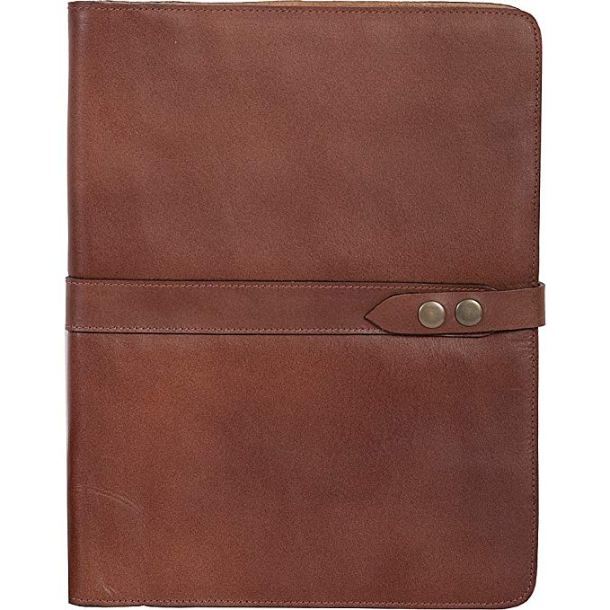 Scully Italian Leather Snap Closure Letterpad with Pen Brown
