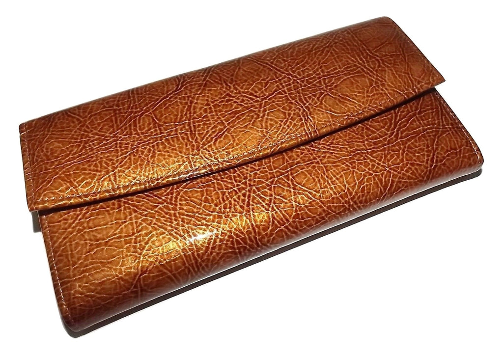 Scully Patent Leather Checkbook Clutch Wallet Brown