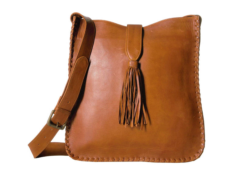 Scully Maria Whipstitch Crossbody Bucket Bag Brown
