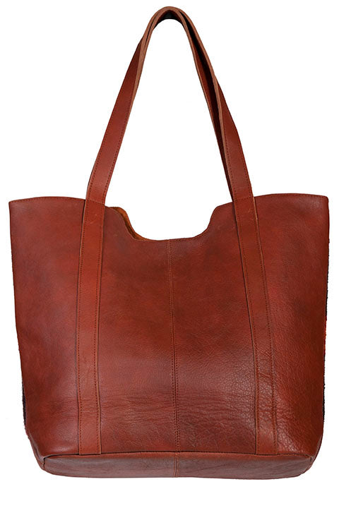 Scully Navajo Wool and Leather Large Tote Brick Multi