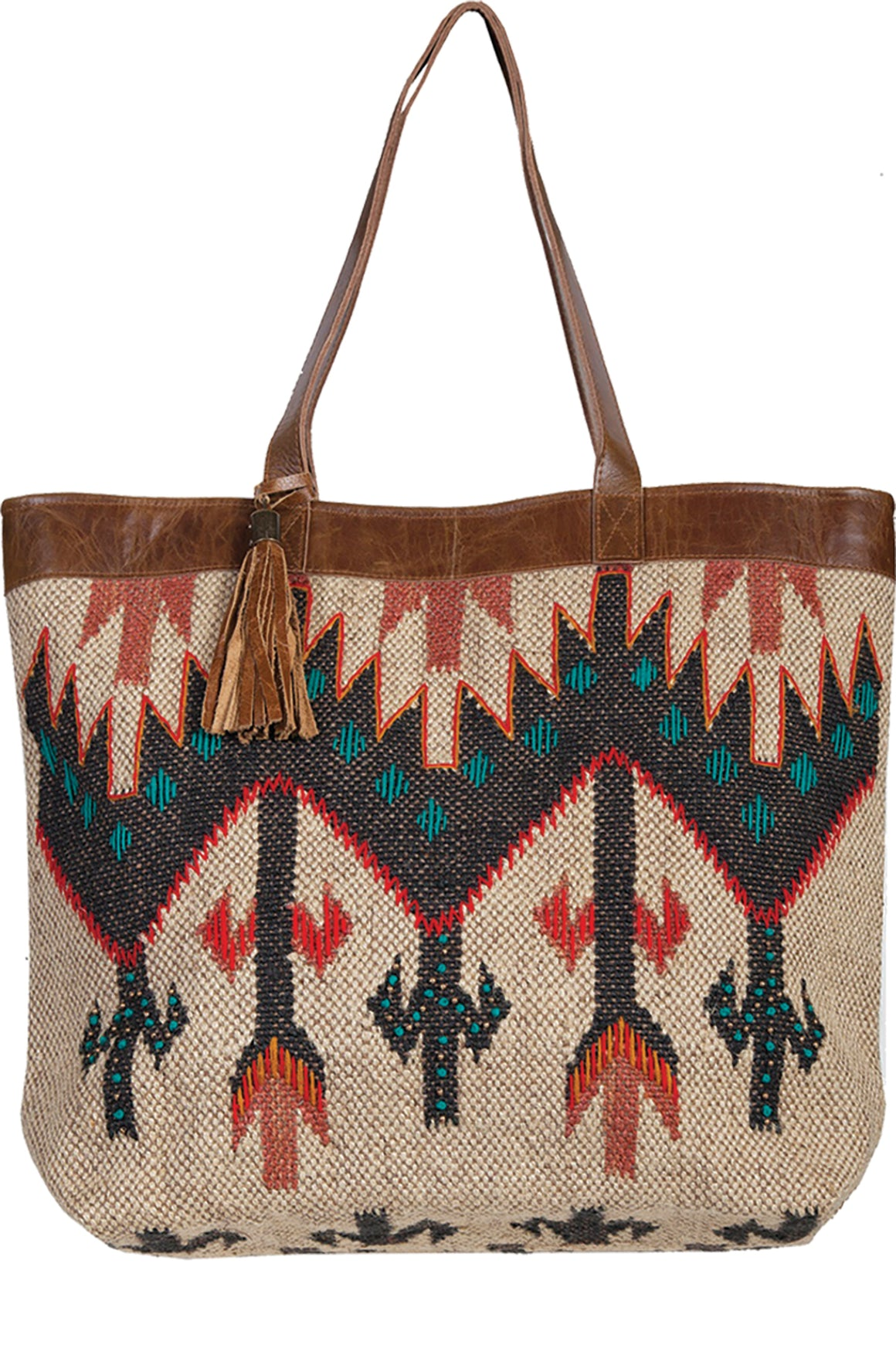 Scully Navajo Wool and Leather Large Tote Tan