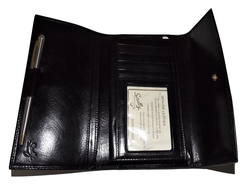 Scully Leather Trifold Checkbook Clutch Wallet Black