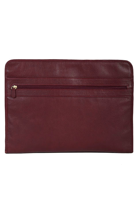 Scully Leather Zippered Business Portfolio with Tablet Pocket Red