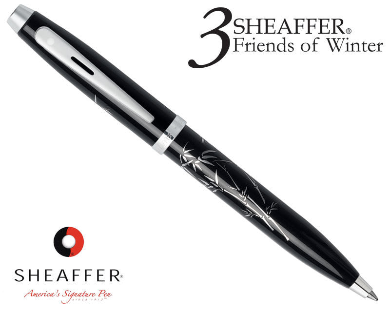 Sheaffer Silk Screened Bamboo Ballpoint Pen with Chrome Appointments Black