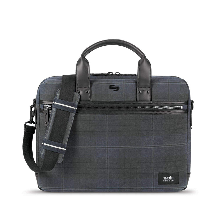 Solo Highland Collection Bryce Slim Briefcase Navy Plaid