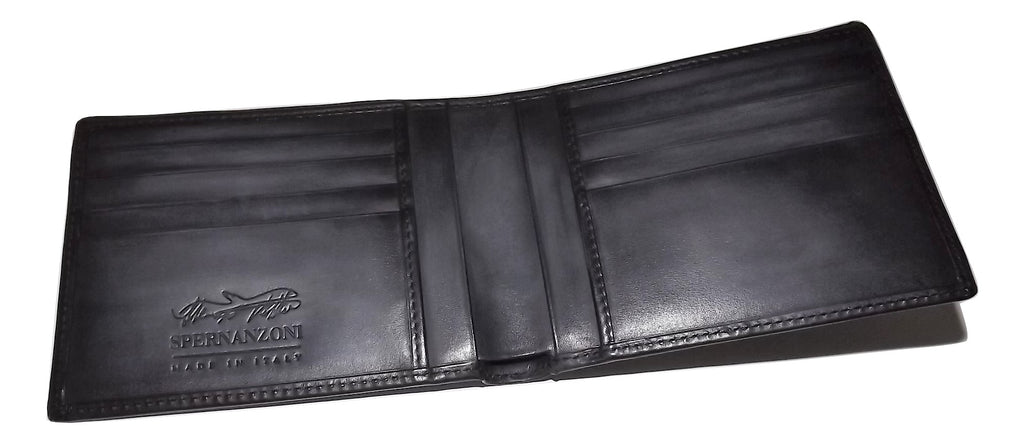Spernanzoni Luxe Italian Leather Bifold 8 Pocket Wallet Black