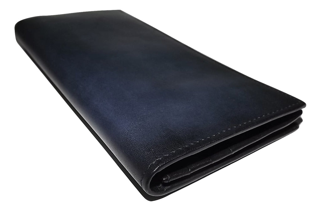 Spernanzoni Luxe Italian Leather Breast Pocket Wallet Ocean Blue