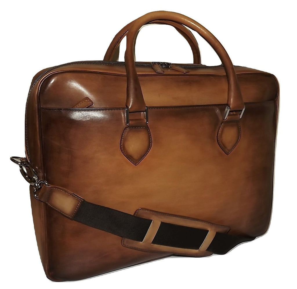 Spernanzoni Luxe Leather Broker Laptop Briefcase Antique Amber