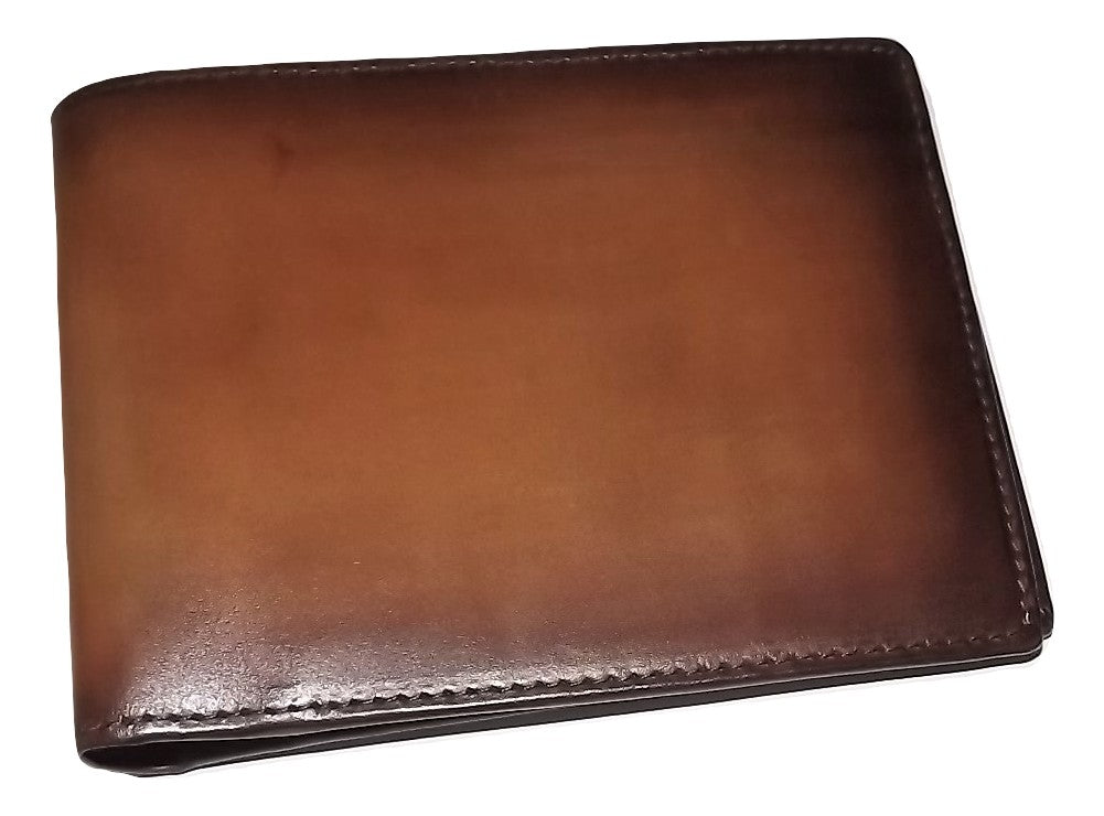 Spernanzoni Luxe Italian Leather Bifold 8 Pocket Wallet Amber