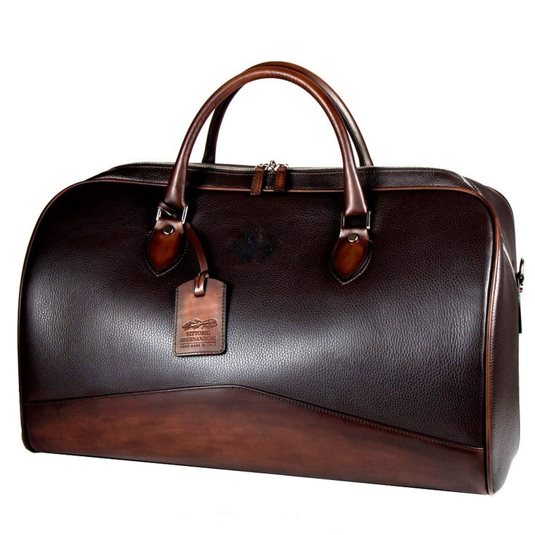 Spernanzoni Leather Boston Duffel Bag Black/Antique Espresso
