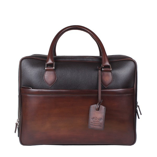 Spernanzoni Leather Smith Overnight Cabin Bag Black/Antique Espresso