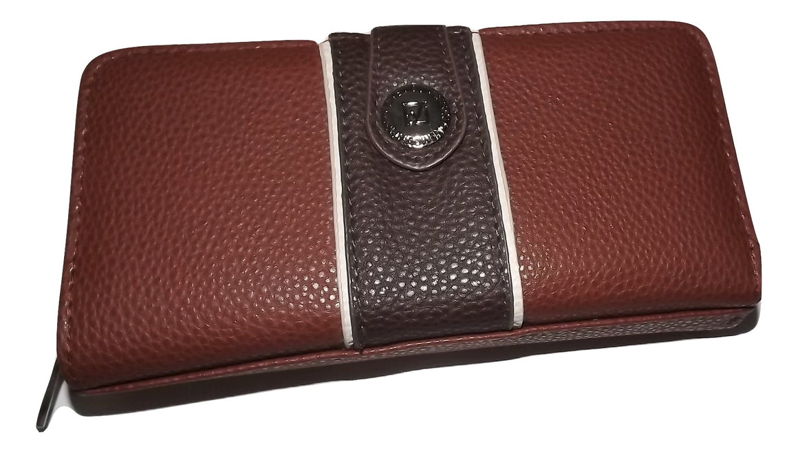 Stone Mountain Pebbled Leather Credit Card Cltuch Wallet Brown