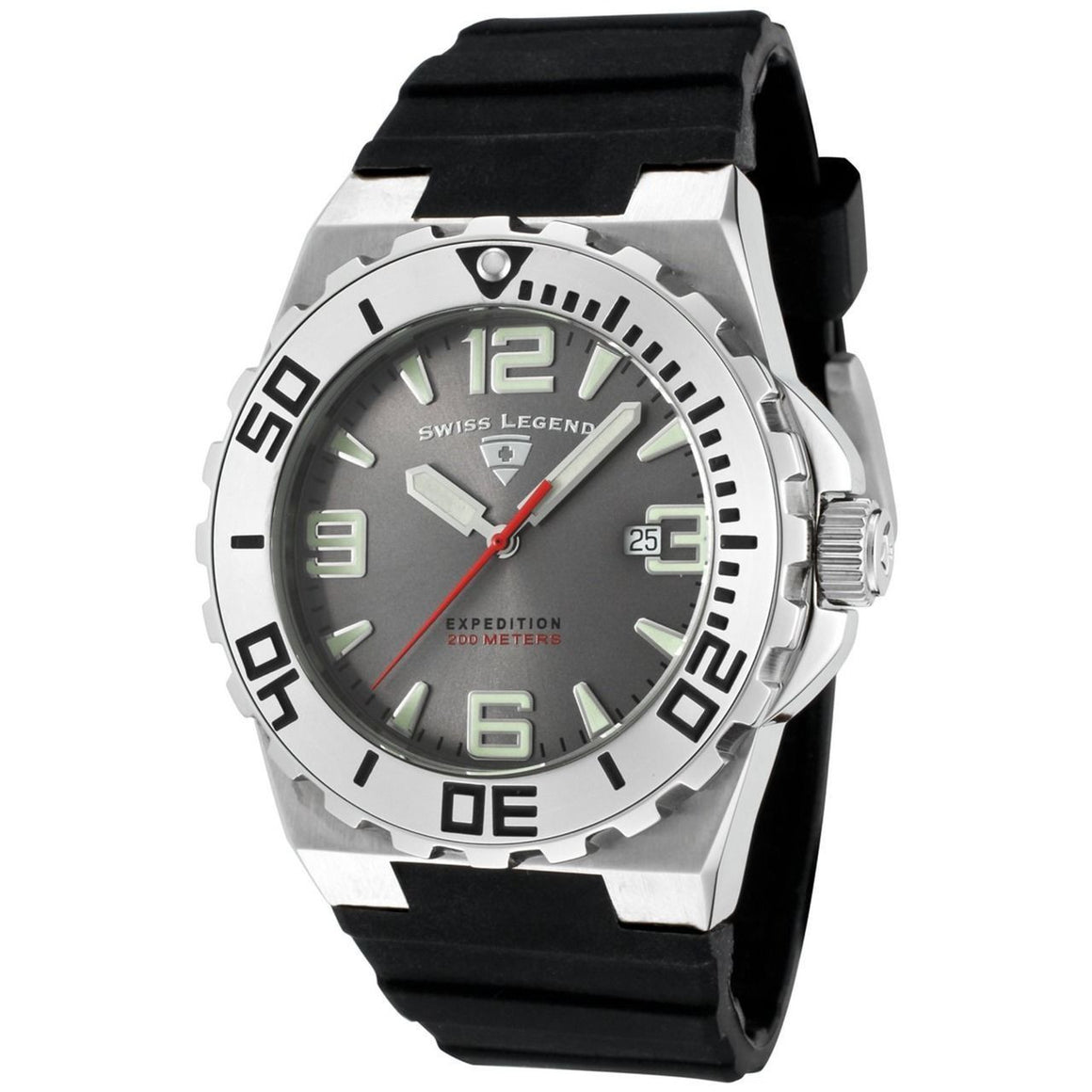 Swiss Legend Men's Expedition Dive Watch Grey Dial Black Rubber Band