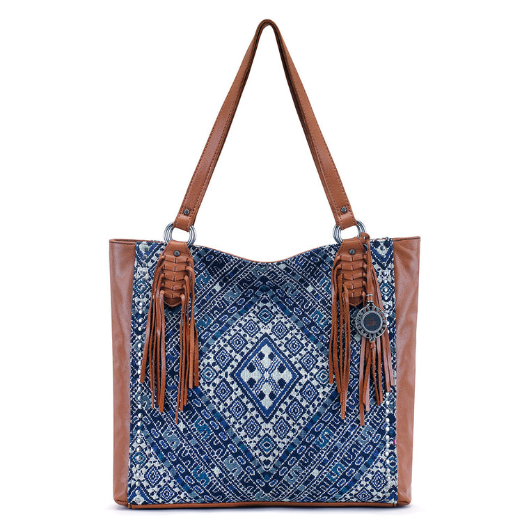 The Sak Montara Leather Tote Blue Diamond