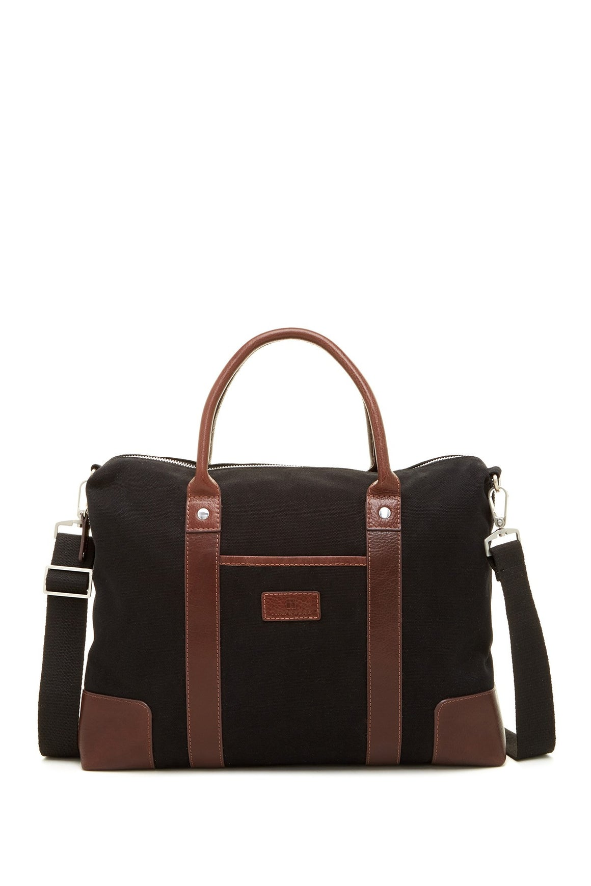 Trafalgar Canvas & Leather Laptop Brief Bag with Strap Black/Toffee