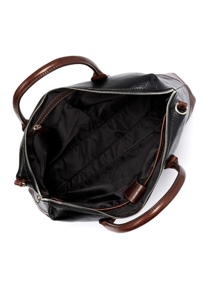 Trafalgar Pebbled Leather Laptop Brief Bag with Strap Black/Toffee