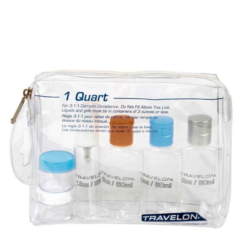Travelon TSA-Approved 1 Quart Clear Zip Bag with 6 Bottles