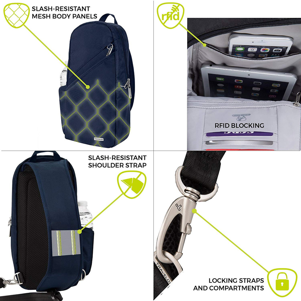 Travelon Anti-Theft Classic Sling Bag Features