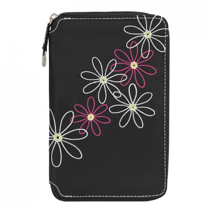 Travelon Daisy Collection RFID Passport Travel Wallet Black