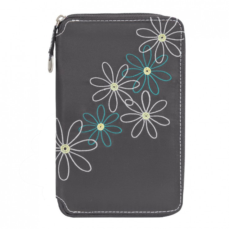 Travelon Daisy Collection RFID Passport Travel Wallet Pewter