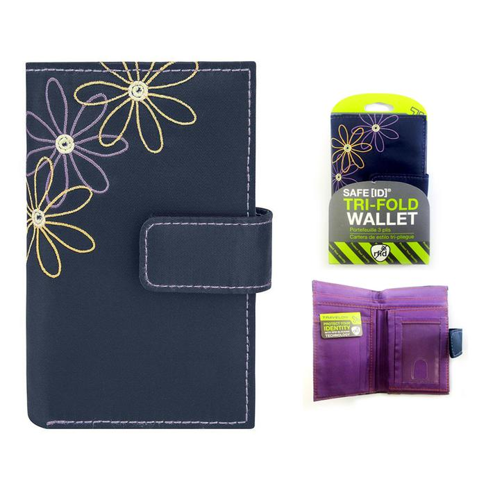 Travelon Daisy Collection Trifold RFID Wallet Navy