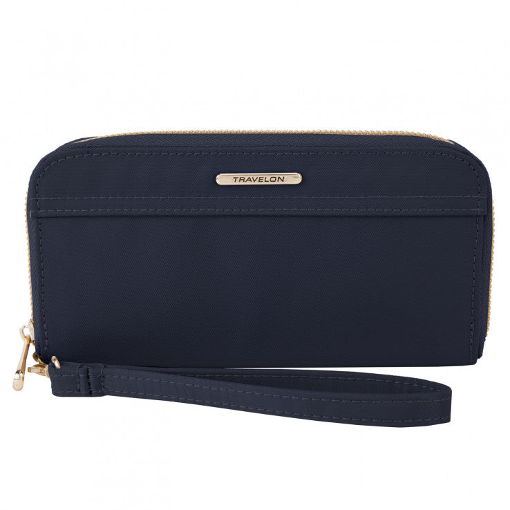 Travelon Nylon RFID Blocking Wristlet Wallet Sapphire
