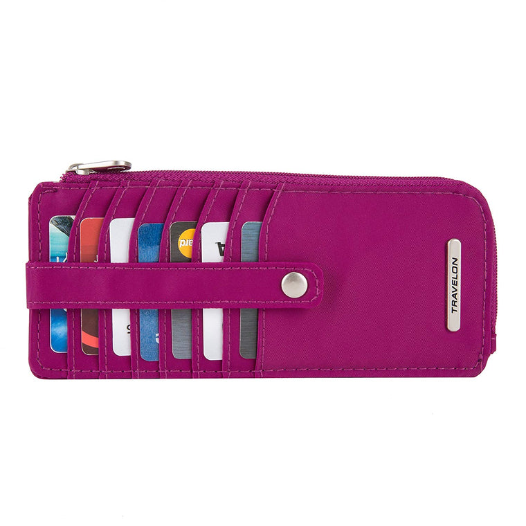 Travelon Slim RFID Credit Card Stacker Wallet Plum