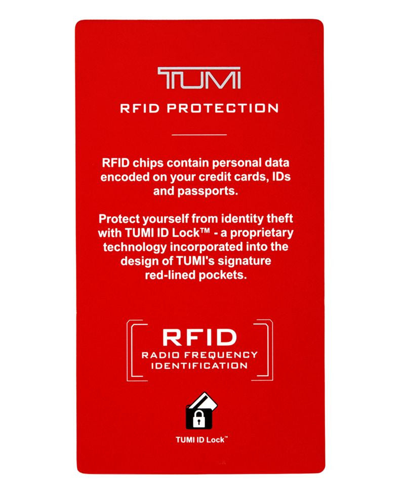 Tumi Chambers Leather RFID Lock Gusseted Card Case ID Wallet Gunmetal