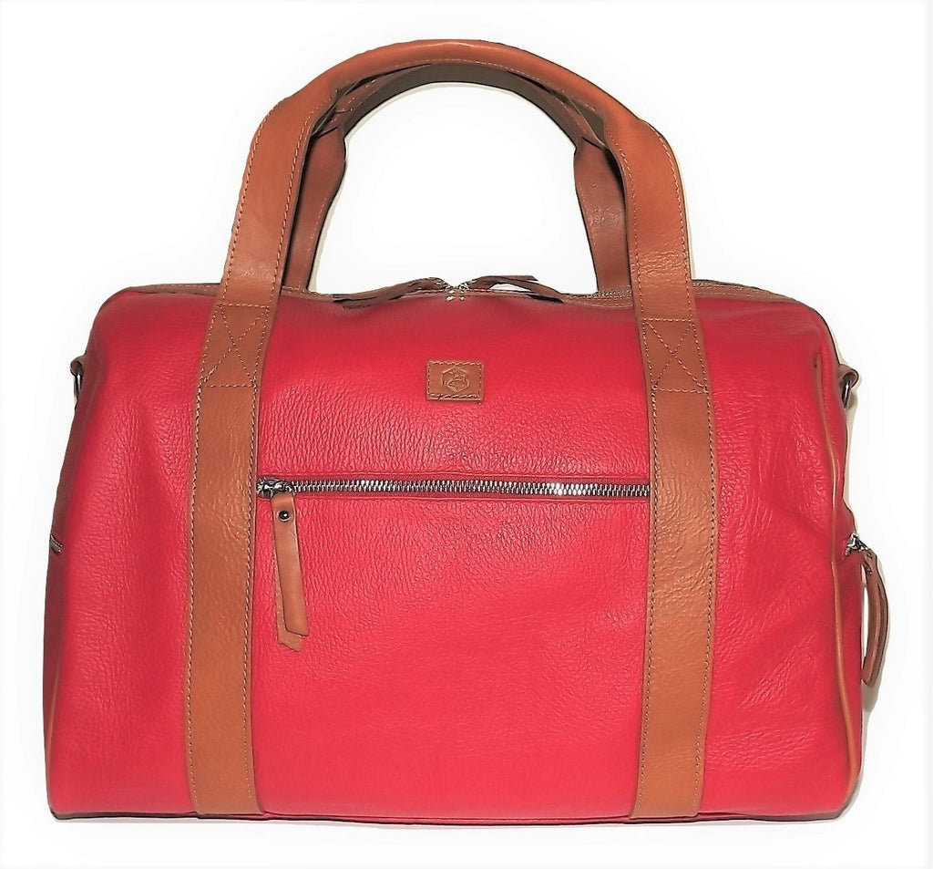 "Valentina Italian Leather 18"" Duffel Bag Red"