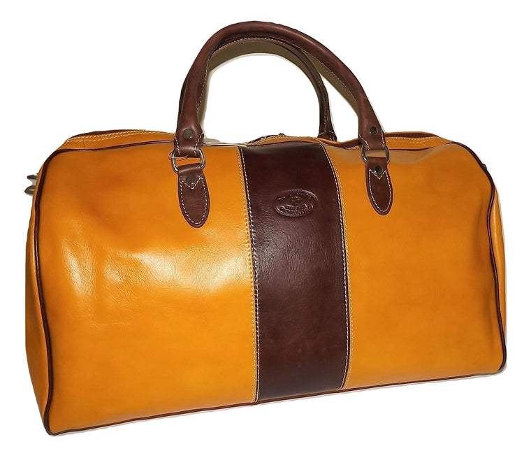 "Valentina Italian Leather 21"" Duffel Bag Amber"