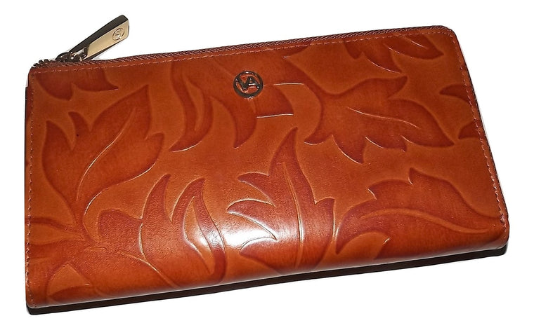 Valentina Leaf Embossed Zip Around Clutch Wallet Cognac
