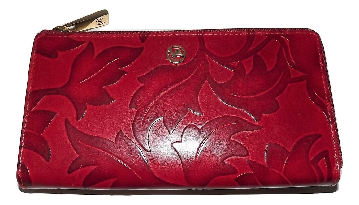 Valentina Leaf Embossed Zip Clutch Wallet Red