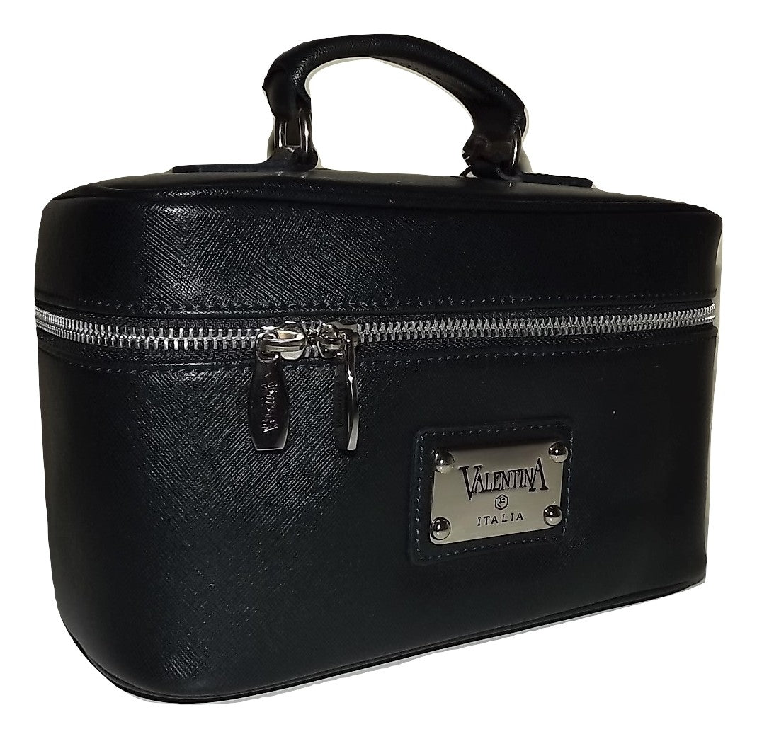 Valentina Italia Leather Cosmetic Travel Train Case Dark Navy