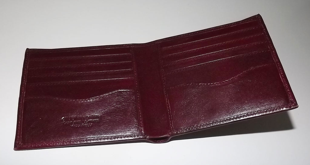 Giudi Italia Leather Bifold 10 Pocket Wallet Burgundy