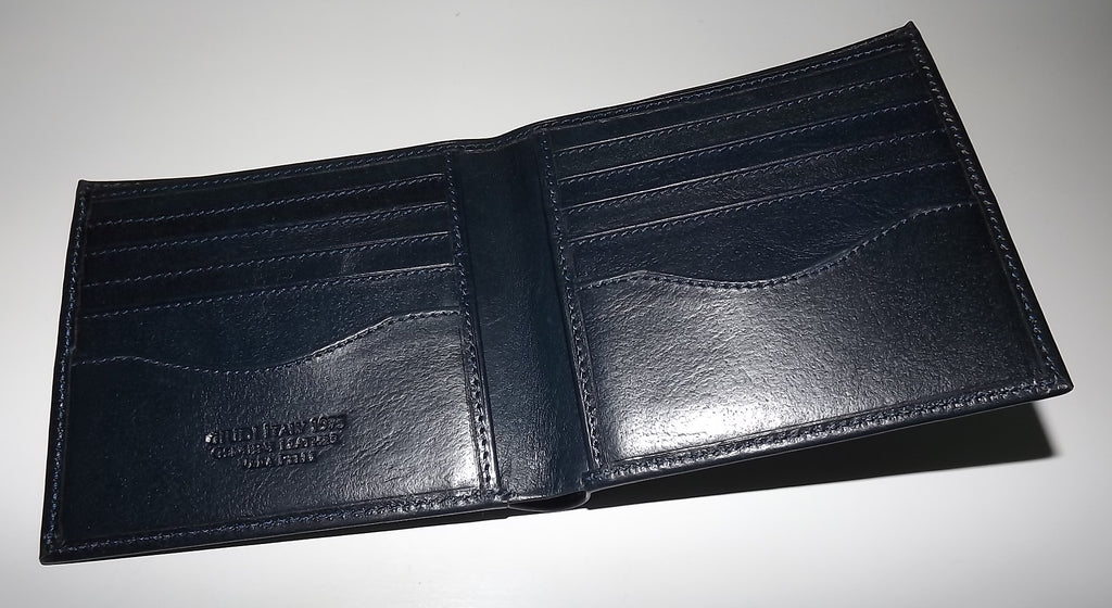 Giudi Italia Leather Bifold 10 Pocket Wallet Blue