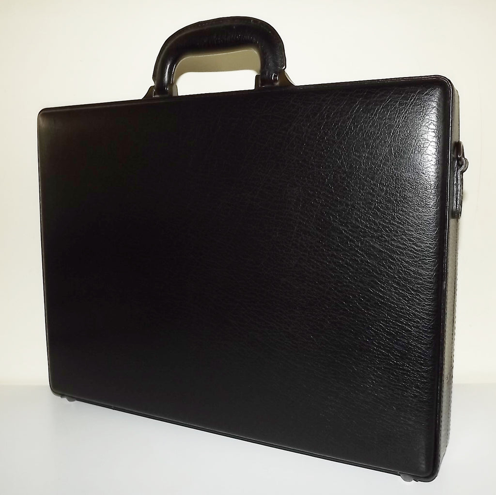 Mancini Leather Slim Attache' Laptop Briefcase Black