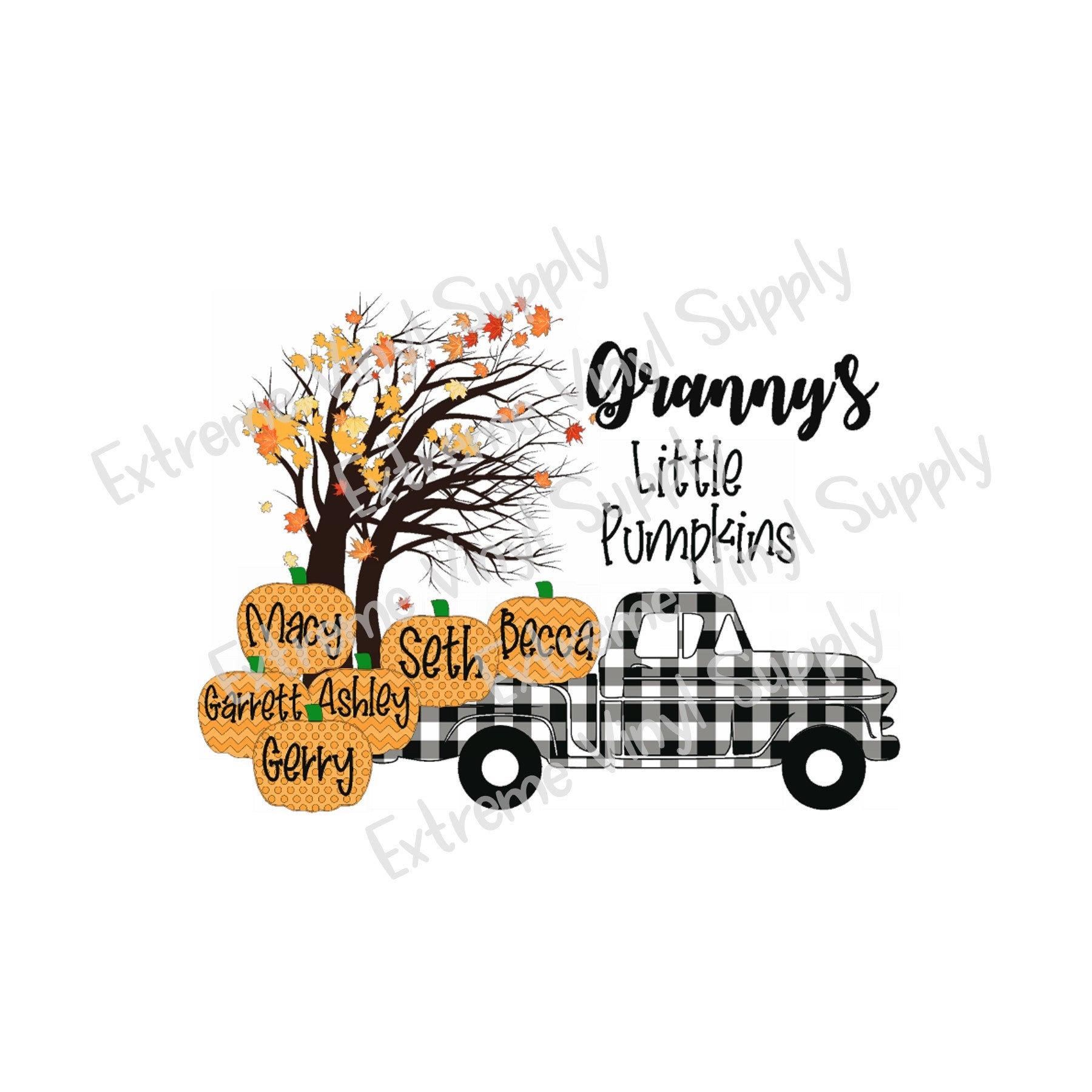 Plaid Truck with Customizable Pumpkins