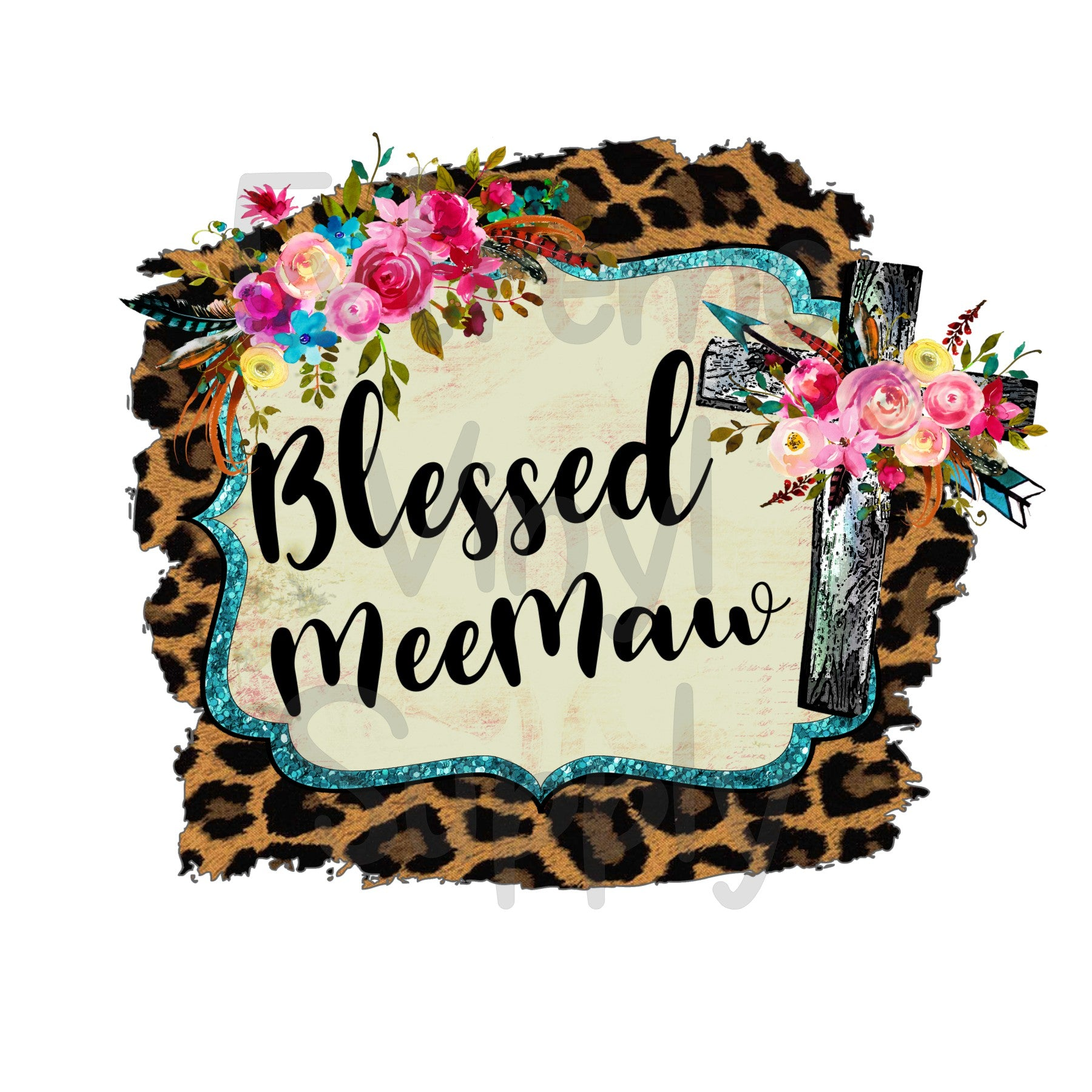 Blessed MeeMaw Animal Print