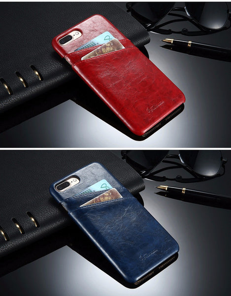Luxury Leather Case With Card Holder For iPhone