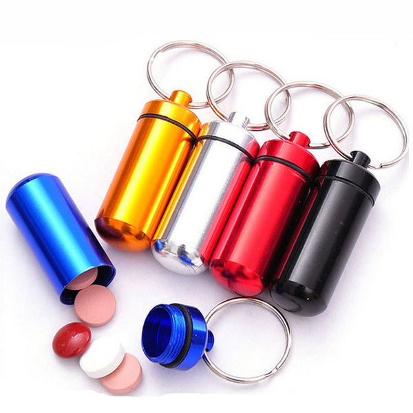 FREE SHIPPING! Portable WaterProof Mini Aluminum Keychain Tablet Storage Bottle
