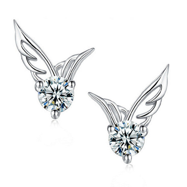 Angel Wings Crystal Ear Stud Earrings
