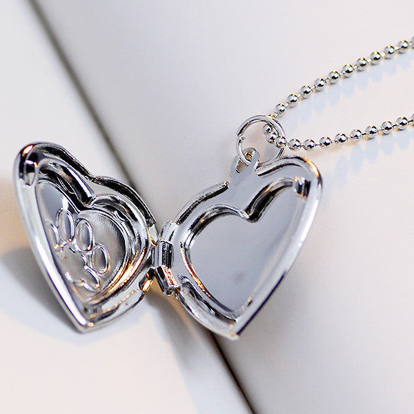 Dog Paw Print Open Heart Photo Locket Pendant Necklace