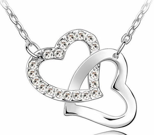 Austria Crystal Double Heart Pendant Necklace