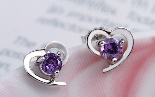 Cubic Zircon Heart Shaped Stud Earrings