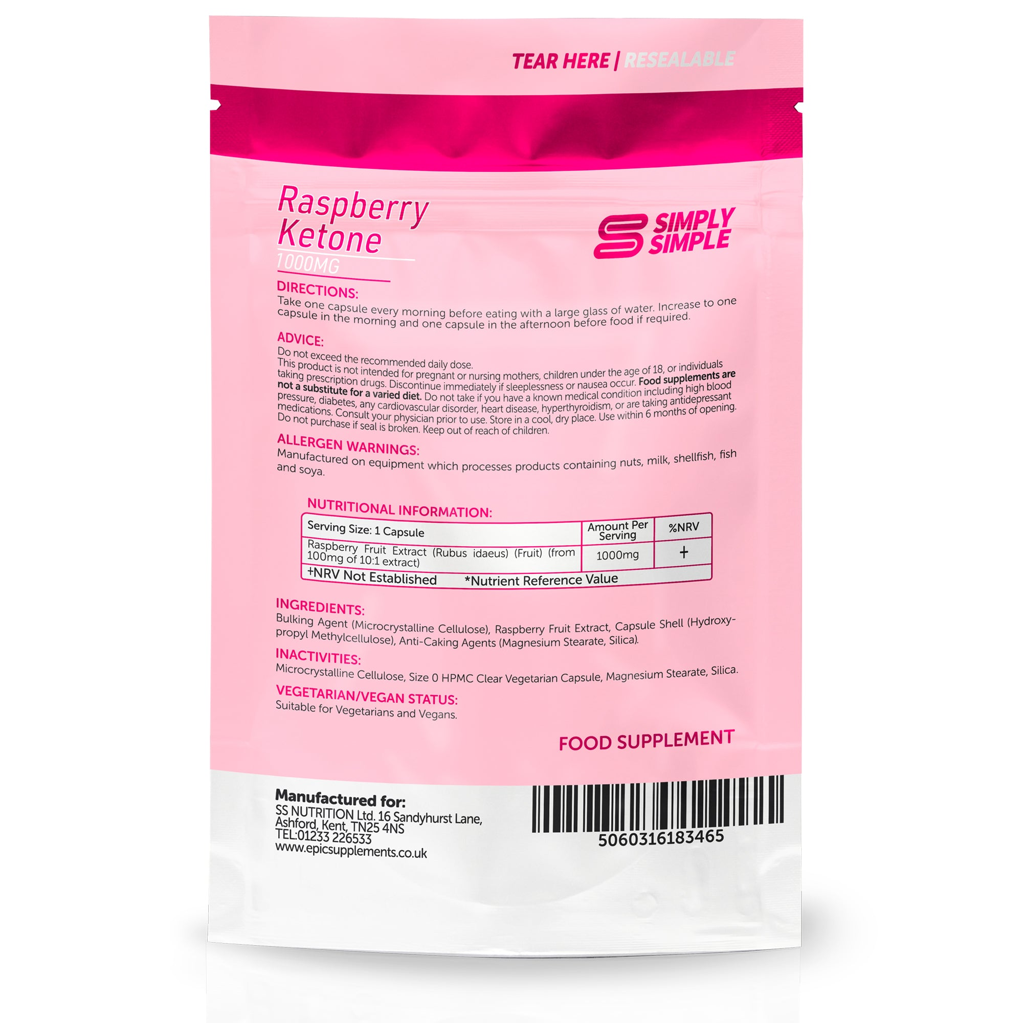 Raspberry Ketone 1000mg by Simply Simple