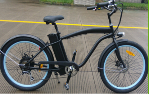 Step-Over Electric Retro Cruiser Bicycle-Matte Black